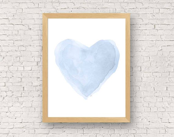 Pastel Blue Heart Nursery Print, 11x14