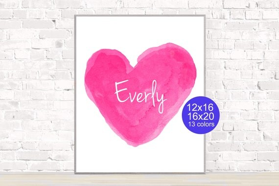 Hot Pink Personalized Heart Poster, 12,16, 16x20