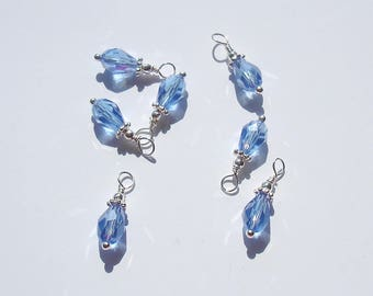 6PC. AB BLUE Tear Drop Austrian Crystal Bead Dangle Charm//Handmade AB Crystal  Dangle Charms//19mm Shiny Silver Tone Plated  Crystal Charms