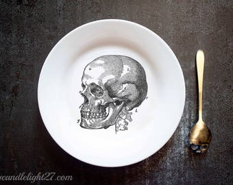 Human Skull, Anatomical Skull,  Gothic Decor, Anatomical Decor, Halloween Decor, Halloween Gift, Skull decoration, Hand Pressed Plate