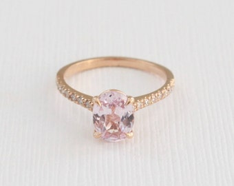 Oval Ballerina Pink/Peach Sapphire Solitaire Diamond Ring in 14K Rose Gold