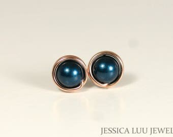 Rose Gold Blue Pearl Stud Earrings Wire Wrapped Jewelry Rose Gold Earrings Rose Gold Jewelry Dark Blue Earrings Swarovski Pearl Earrings