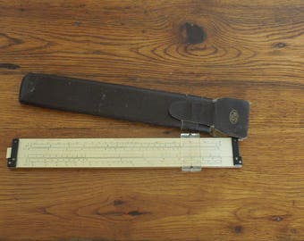 Vintage Slide Ruler Frederick Post Company Number 1462 with Case
