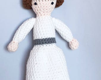 Princess Leia Crocheted Stuffed Doll - Princess Leia from Star Wars Amigurumi Doll