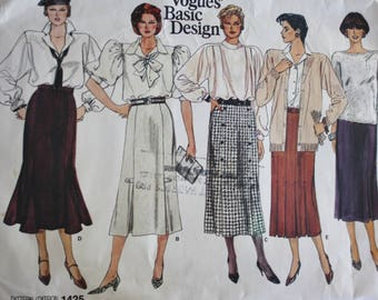 Vintage 1980s Vogue 1425, Slim Fitting Skirts with Pleated or Flared Details,  Size 8 UNCUT