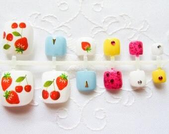 Summer Berry Fake Toenail Set, Toenails, Toe Nails, Fake Nails, Acrylic, Press on, Nails, Pedicure, Cherry / Strawberry