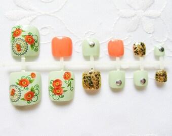 Orange&Mint Fake Toenails / False Toenails / Press on / Toenail / Toe Nails / Fake Nails / Pedicure