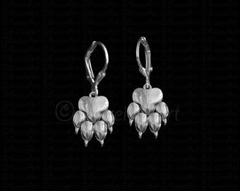 Paw print earrings - sterling silver.