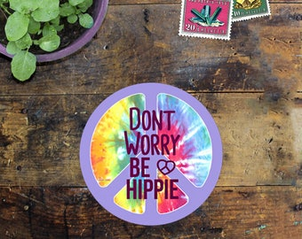 Peace Hippie Sticker Decal - Car Decal - Outside Sticker - Laptop Sticker - Window Decal - Phone Sticker - Don't worry be hippie