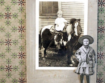 Bessie Cowgirl*Pony Black and White Vintage Photo