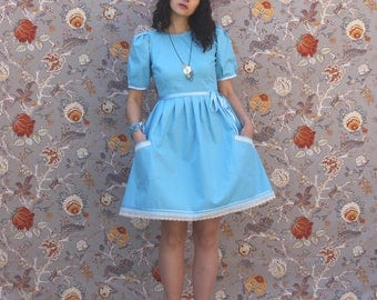 """Pretty blue dress """"Alice"""" in puff sleeves"""