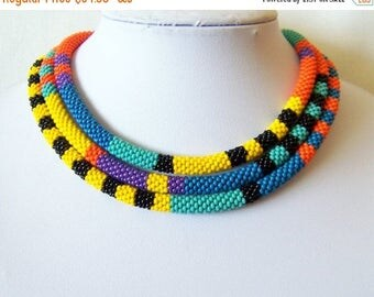 15% SALE Extra Long Beaded Crochet Rope Necklace - Beadwork - Seed beads jewelry - African style necklace - Elegant - Geometric  - Colorful
