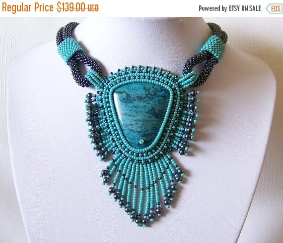 15% SALE Bead Embroidery Beadwork Pendant Necklace with Blue Leopard Skin Jasper - TURQUOISE PARADISE - turquoise and hematite - statement