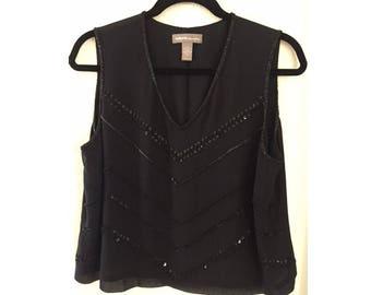 Valerie Evening V-Neck Shell Top Black Beaded Evening Wear