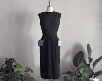 1950s dress | gone steady | vintage black wiggle dress
