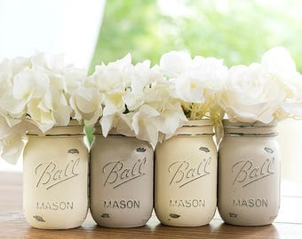 Cream and Tan Painted Distressed Mason Jars - Off White and Beige Mason Jars - Chalk Paint Mason Jars