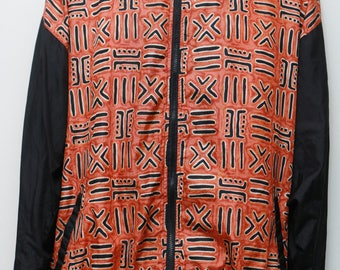 "Rare 90's Vintage ""AVON"" Abstract Patterned Multicolor Windbreaker Jacket Sz: LARGE (Men's Exclusive)"