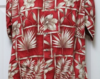 "90's Vintage ""PIERRE CARDIN"" Short-Sleeve Tropical Abstract Patterned Shirt Sz: MEDIUM (Men's Exclusive)"