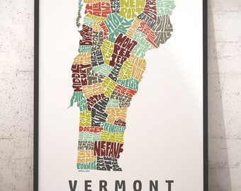 Vermont map art, Vermont art print, Vermont typography map, map of Vermont, Vermont city cities map with title