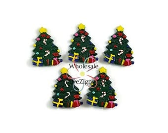 christmas tree resins decorated with gifts candy cane and star winter cabochons flat back - Flat Back Christmas Tree