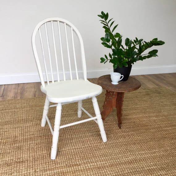 White Windsor Chair - Country Cottage Furniture - Shabby Chic Chair - Distressed Chair - Wedding Furniture - Rustic Wood Chair
