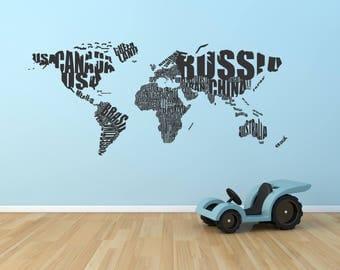 World Map Wall Decal - World Map Text - Vinyl World Map - Wall Sticker Home Decor - Office Wall Art Decor - Nursery Wall Decal