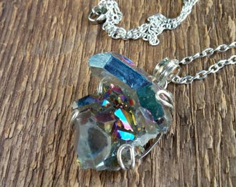 Aura Quartz Pendant, Quartz Pendant, Raw Crystal Necklace, Crystal necklace, Raw Stone Necklace, Boho Jewelry, Bohemian Jewelry
