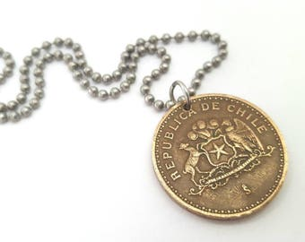 1997 Chilean Coin Necklace  - Stainless Steel Ball Chain or Key-chain - Chile - South America