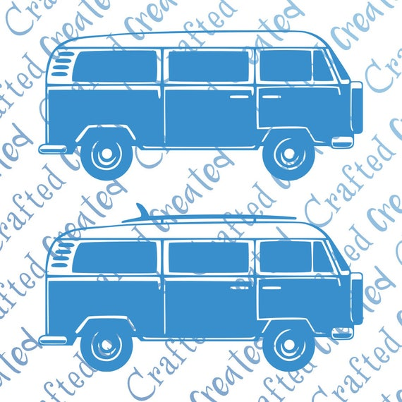 Campervan Vector SIDE VW Camper Van Clipart Cut Outline Car