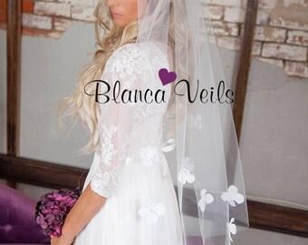 Flower Wedding Veil with Pearls