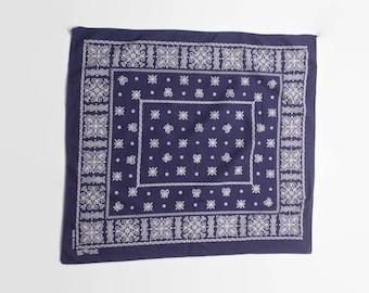 Vintage 60s Trunk Up BANDANA / 1960s Fast Color Indigo Blue Cotton Large Handkerchief