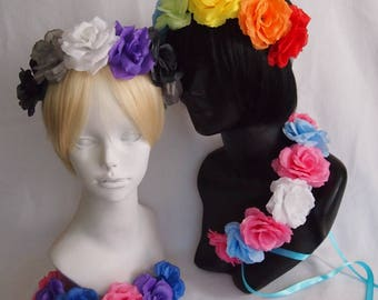 Pride Flower Crowns / LGBT+, Queer, Transgender, Asexual, Bisexual, Pansexual, Leather / Rainbow / Custom Colors