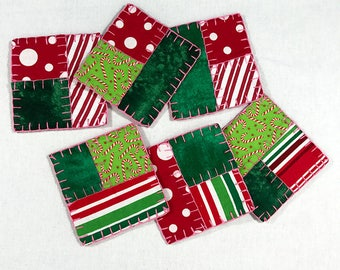 Handmade Coaster Set of 6 - Pink, Red, Green, Candy Cane, Christmas Holiday
