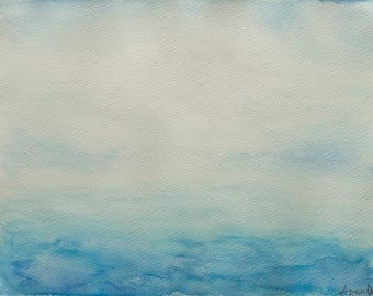 "Abstract Ocean Painting, Watercolour on paper 9"" x 12"" - ""Escapism 2"""