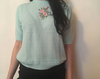 80s pastel blue knit blouse, fliral embroidery t-shirt, short sleeved knit romantic dream top, small medium - vintage -