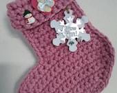 Handmade crochet christmas stocking in pinkchunky yarn pink christmas stockinghanging handmade pink christmas stocking