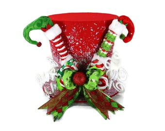 Red Elf theme tree topper, Elf on the shelf Christmas decoration, Elf shoes and peppermint theme tree topper, santa clause top hat topper
