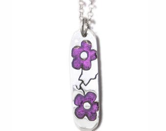 Cherry Blossom sterling silver purple necklace