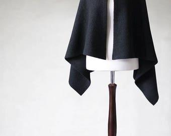 Wool poncho, wool cape, womens poncho, open poncho, black poncho, wool jacket, womens coats, womens jacket, wool sweater, womens cape
