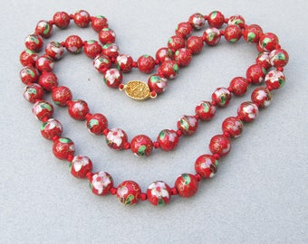 """Spectacular!  Vintage 12mm Red Cloisonne Beaded 31"""" LONG Necklace"""
