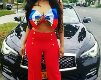 Custom Haitian Flag Bandeau Bow Top *Other Countries Produced by Request