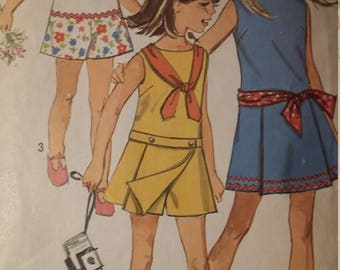 Vintage Simplicity 8221 Sewing Pattern Size 10 Girls Pantdress