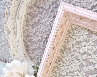 Picture Frame Set of 2, Shabby Chic Picture Frames, Ornate Picture Frame Set, Nursery Frames, Baby Girl Nursery Wall Decor