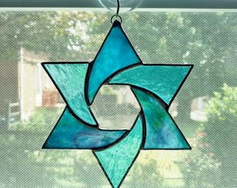 Stained Glass Star Suncatcher - Star of David - Jewish Decor - Blue Star Ornament - Jewish Star - Hanukkah Gift - Jewish Gift - Judaica