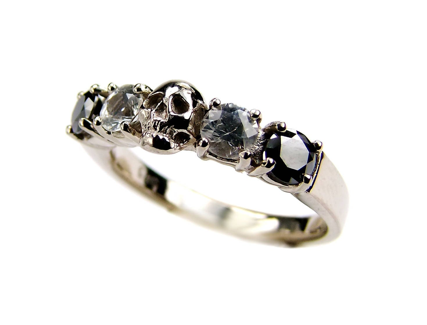 White Gold Skull Wedding Set Ring Black Diamond Sapphire Engagement Goth Psychobilly Band Jewel All Sizes