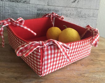 Red Gingham Fabric Bread Basket - Red Gingham Casserole Carrier - Square Fabric Basket with Ties - Red White Urban Farmhouse Kitchen