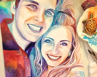 COMMISSION PORTRAIT PAINTING, custom made portrait, illustration of a couple, couple gift, gift for girlfriend, best girlfriend gift ever