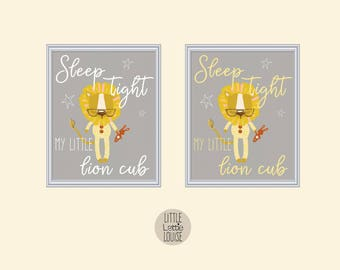 Liam Lion – sleep tight my little lion cub, printable nursery wall art.  Perfect for a hipster, woodland nursery.