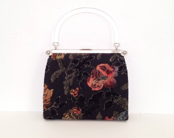 60s handbag tapestry purse vintage small evening bag 1960s purses structured purse hand bag