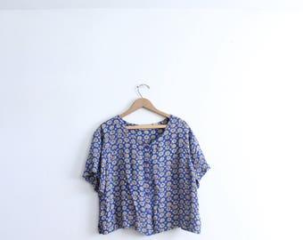 Blue Jewel Pattern 90s Blouse